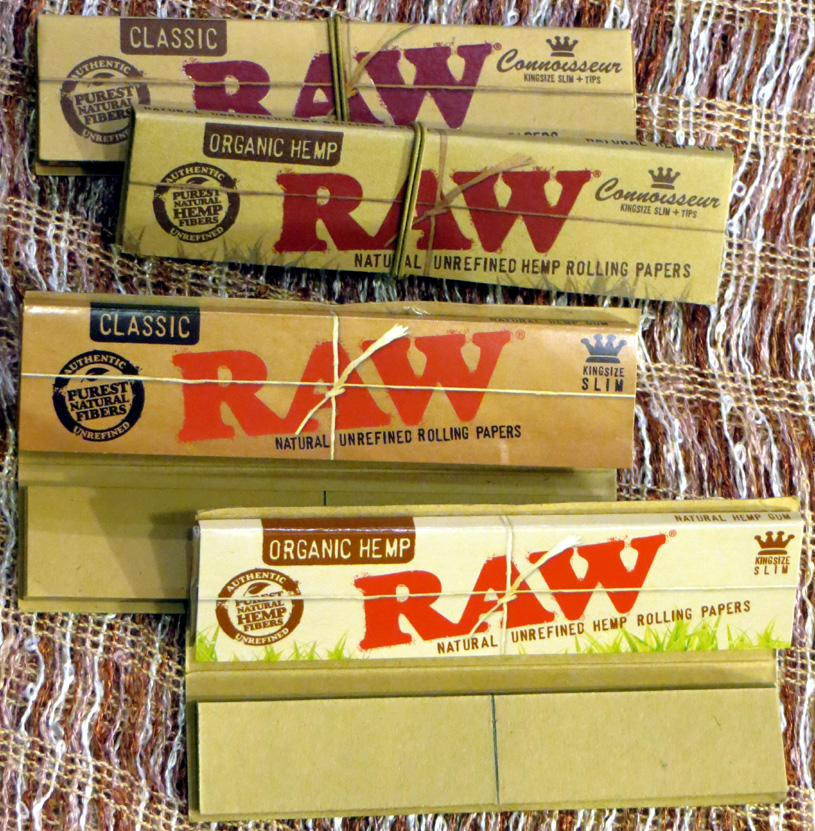 Raw Classic & Organic Hemp Connoisseur King Size Slim Papers & Tips (£1.40) – 32 unrefined leaves and wide tips; made in Spain.