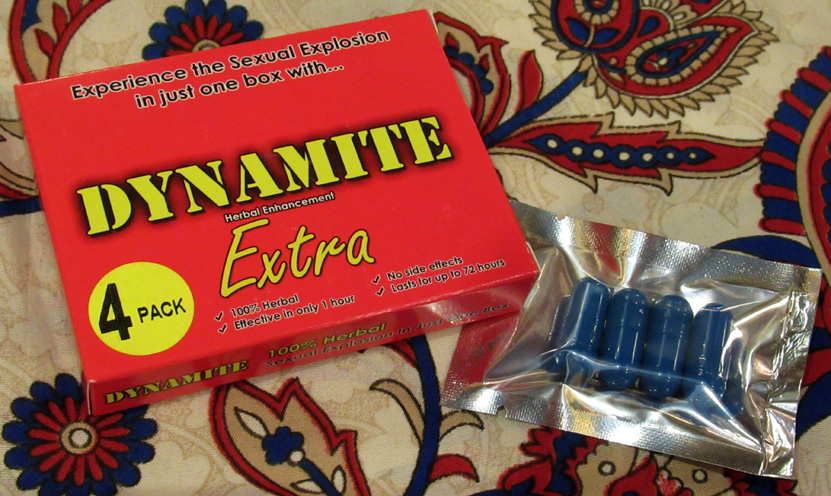 Dynamite Extra (£20, or 2 packs for £35) - A 100% herbal food supplement in capsule form which can be used by both men and women to experience a 'sexual explosion'; in other words, a herbal Viagra.