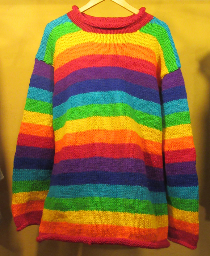 Rainbow Woollen Jumper (£44) – Medium & Large. Made in Nepal.