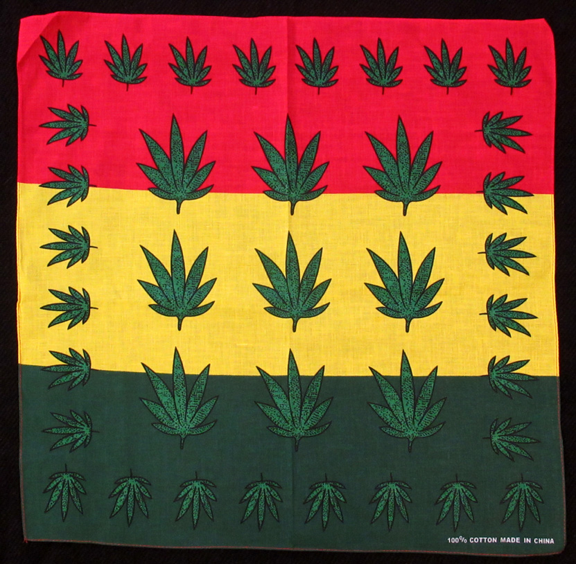 Rasta Leaf Cotton Bandana (£1.50) - 53 x 53 cm.