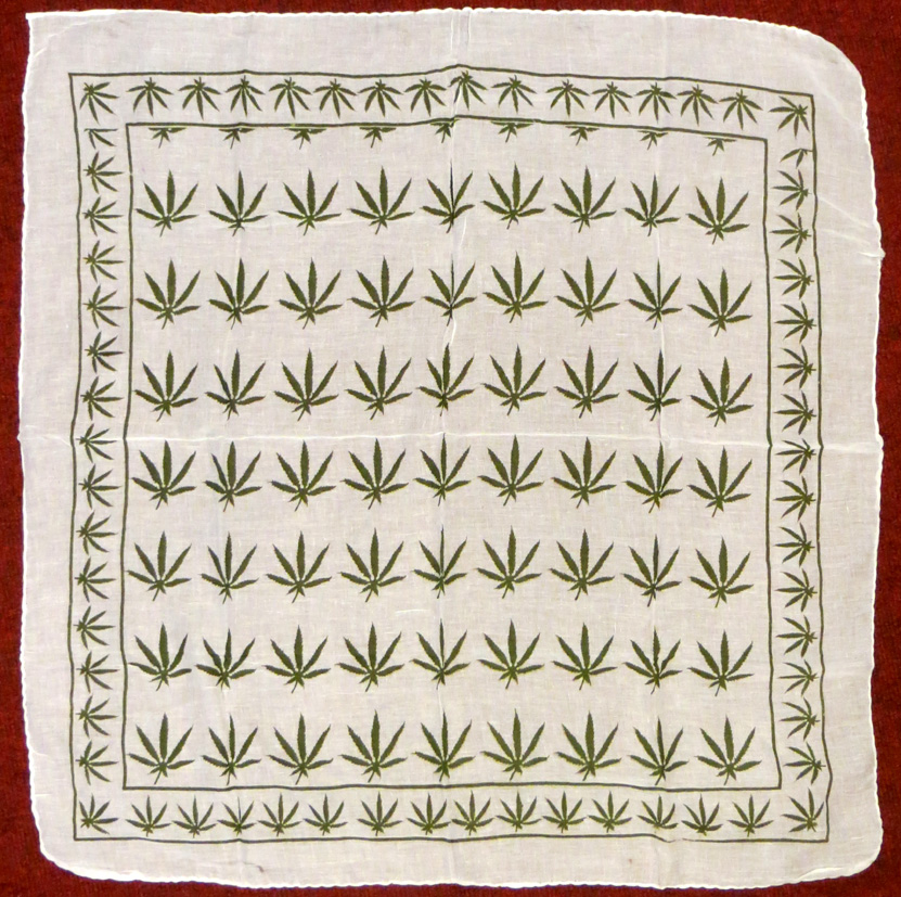 Cannabis Leaf Cotton Scarf (£3) - 1 metre squared; with green or black print.