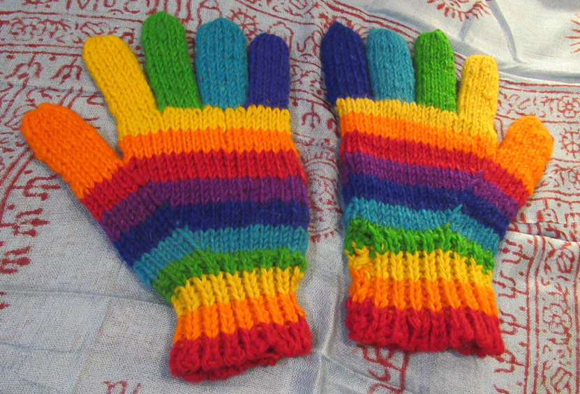 Rainbow Woollen Gloves (£9)
