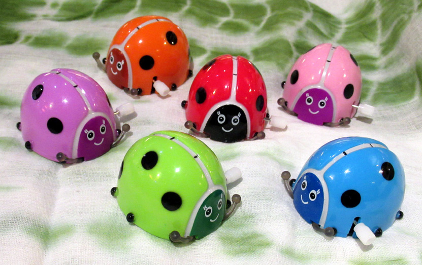 Clockwork Busy Bugs (£1.50 each) - Spinning, flipping, running ladybirds that perform 360 degree backward somersaults.