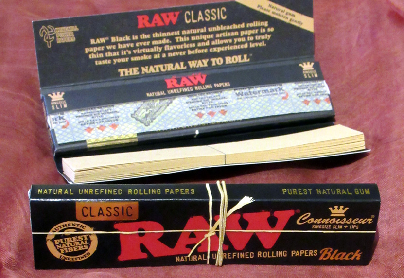 Raw Classic Black Connoisseur King Size Slim Papers & Tips (£1.65) – 32 unrefined, ultra thin, unbleached leaves and wide tips; made in Spain.