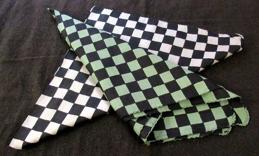 Checked Cotton Bandanas (£1.50) - 67 x 67 cm - black and light grey, black and pale green.